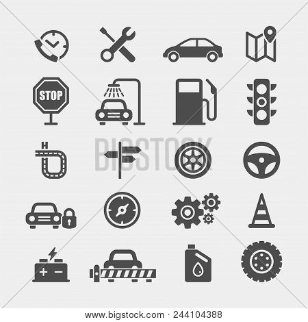 Automobile Flat Vector Icons Set. Car Flat Vector Icons Set. Car Service Flat Vector Icons Set. Auto