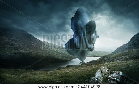 A Strange And Mysterious Futuristic Looking Object Hovering Over A Scenic Mountain Lake On A Stormy