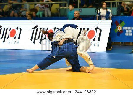 Orenburg, Russia - May 12-13 Year 2018: Girls Compete In Judo