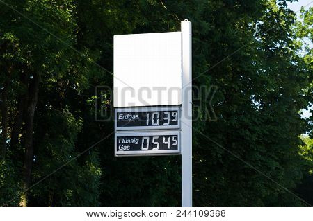 Blackboard At A German Gas Station With Current Gas Price For Lpg And Natural Gas.