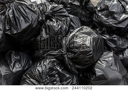 Background Garbage Bag Black Bin Waste, Garbage Dump, Bin, Trash, Garbage, Rubbish, Plastic Bags Pil