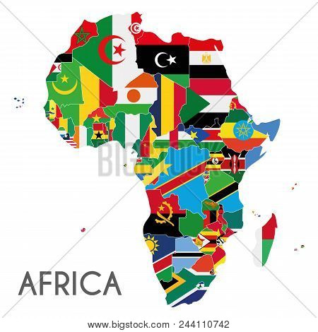 Political Africa Map Vector Illustration With The Flags Of All Countries. Editable And Clearly Label
