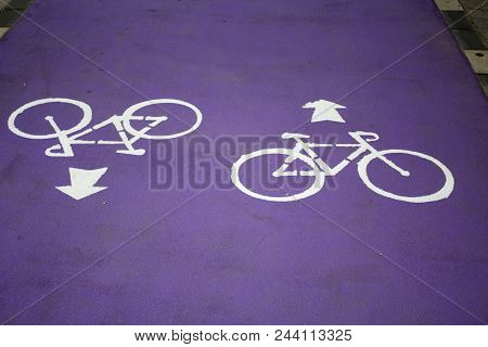 Purple Bycicle Road With Sign In Israel City Center