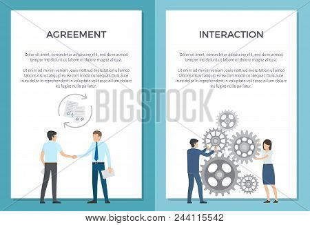 Agreement And Interaction Set Of Posters With Text. Vector Illustration Of Successful Men Shaking Ha