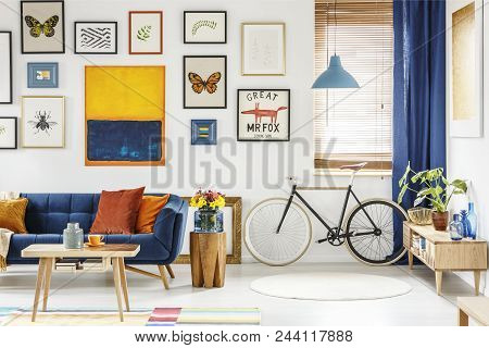 Real Photo Of A Retro Bike Standing Next To The Window In Bright Living Room Interior With Navy Blue