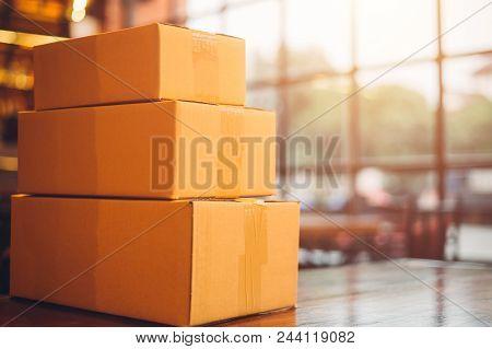 Cardboard Box On Vintage Table, Cardboard Box .