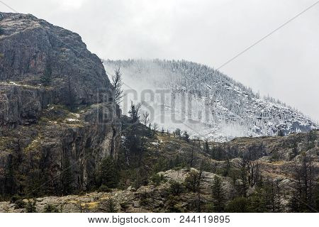 Wyoming Mountain Landscape With Light Autumn Snow