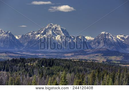 Grand Tetons Of Wyoming, Trees And Valley