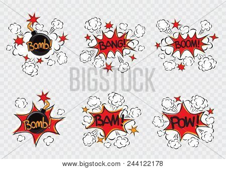 Explode Cartoon Illustration Set. Bomb With Fire Cord Wick. Explosion On White Transparent Backgroun
