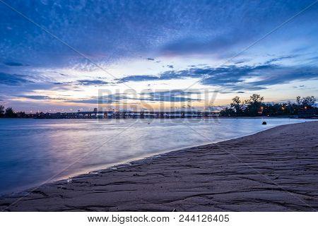 Sunrise Above Sarasin Bridge. Sarasin Bridge Connection Between Phuket And Phang Nga, Thailand. Ligh