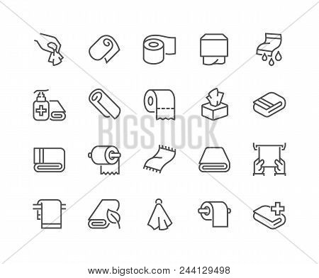 Simple Set Of Towels And Napkins Related Vector Line Icons. Contains Such Icons As Wet Towel, Sanita