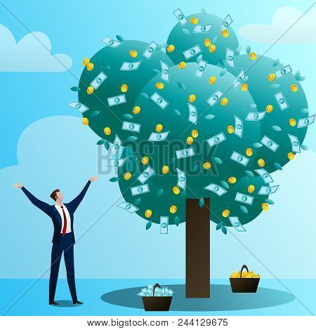 The Businessman Grows Up A Big Monetary Tree, Waters, Drips And Rejoices. The Person Invests In The