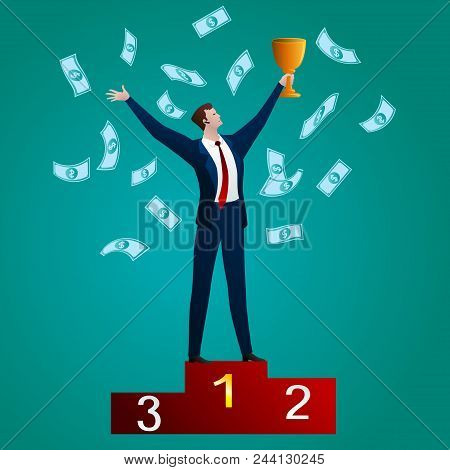 The Successful Businessman With A Cup On A Red Pedestal On A Green Background. Business Concept. Vec