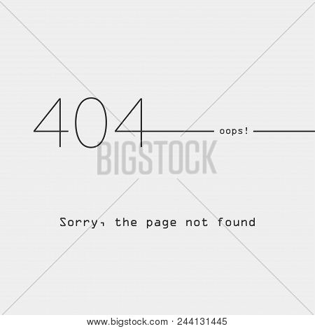 Error 404, Page Not Found, Socket, Connection Error, Flat Style, Abstract Background For Web Page, E
