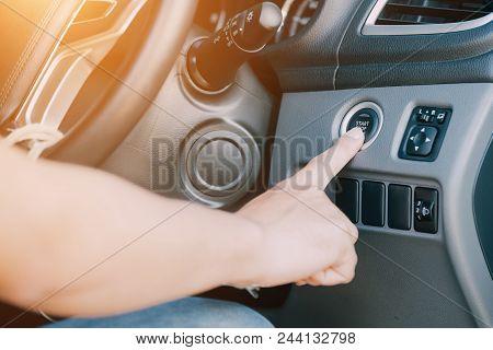 Car Driver Starting, Car Start Button / Power Switch