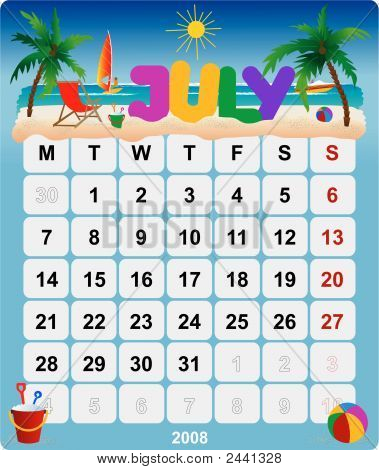 Monthly Wall Calendar July 2008