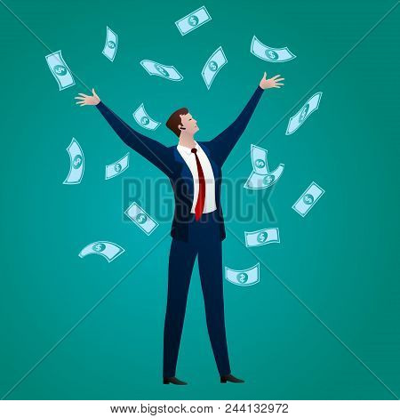The Successful Businessman Rejoices To The Money Falling On Him On A Green Background. Business Conc