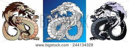 Set Strong Asian Dragons Colorful Brown And Black And Line-art Separately On White. Vector Cartoon I