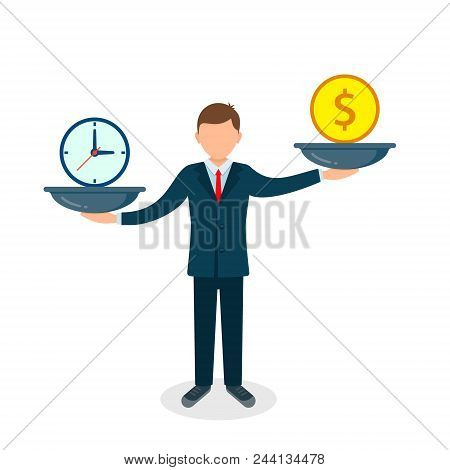 Time And Money On Scales. Man Balances Money Vs Time Concept. Weights With Clock And Money. Vector I