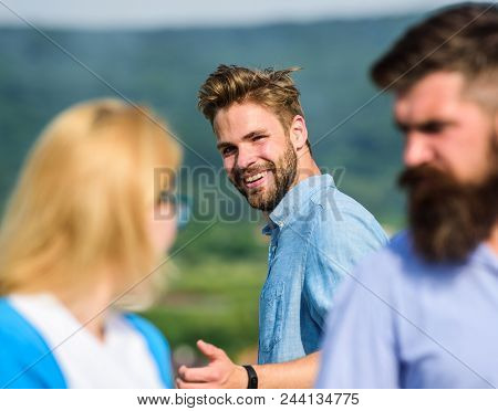 Man With Beard Jealous Aggressive Because Girlfriend Interested In Handsome Passerby. Husband Strict