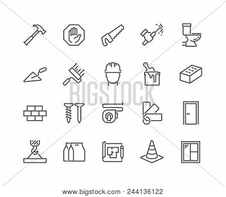 Simple Set Of Construction Related Vector Line Icons. Contains Such Icons As Welding, Crane, Hammer,