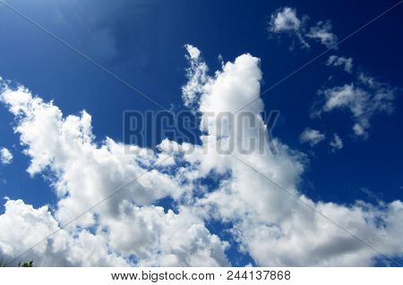 Blue Sky Landscape With White Clouds In The Vast Sky. Sky Landscape Scene. Sky Landscape Of Blue Vas