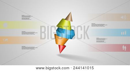 3D Illustration Infographic Template With Spiked Cone Sliced To Five Parts And Askew Arranged