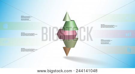 3D Illustration Infographic Template With Spiked Cone Horizontally Sliced To Five Parts
