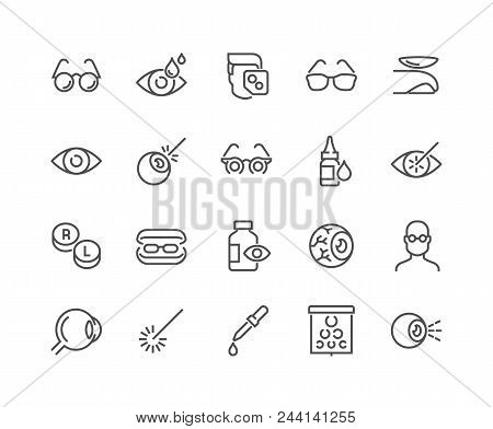 Simple Set Of Optometry Related Vector Line Icons. Contains Such Icons As Eye Exam, Laser Surgery, E