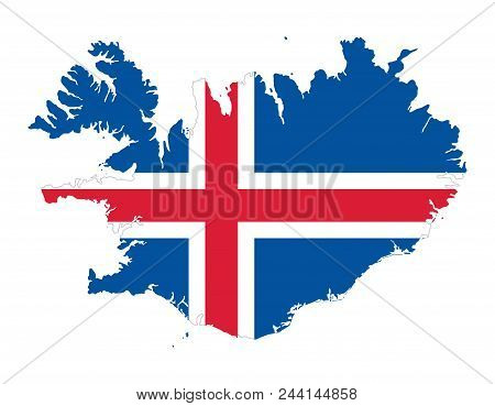 Flag Of Iceland In The Country Silhouette. Blue Field With White Edged Red Nordic Cross. Outline Of
