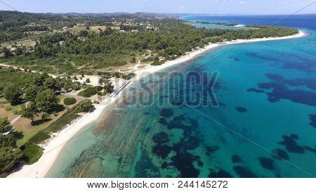 Aerial view of coastline of Kassandra peninsula, Greece