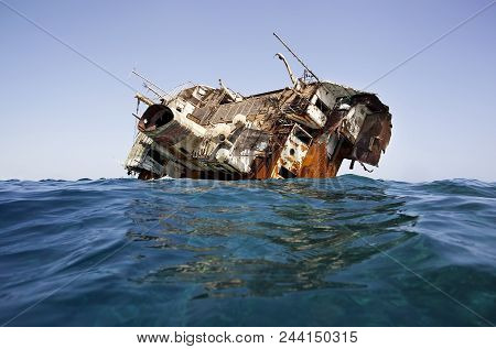 A Large Ship Caught On The Reefs In The Red Sea. Shipwreck.