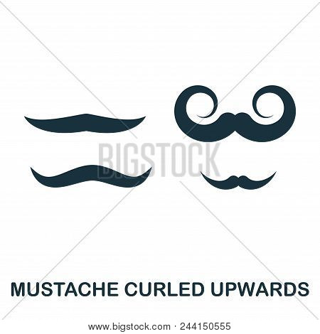Mustache Curled Upwards Icon. Flat Style Icon Design. Ui. Illustration Of Mustache Curled Upwards Ic