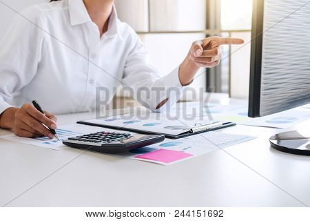 Business Accountant Or Banker, Business Woman Pointing And Analysis With Stock Financial Indices And