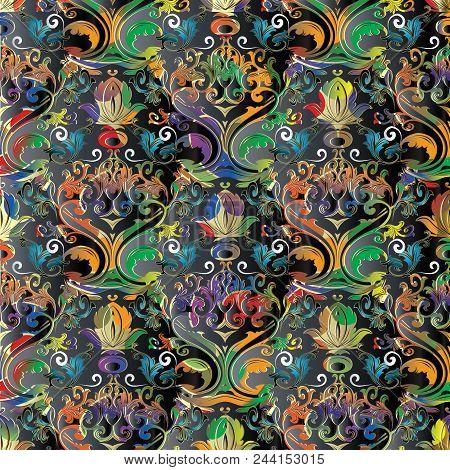 Baroque Seamless Pattern. Damask Ornamental Vector Background. Vintage Colorful Floral Ornaments Wit
