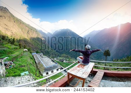 Panoramic Mountain Landscape. Mountain Landscape In The Himalayas. The House On The Way To The Footh