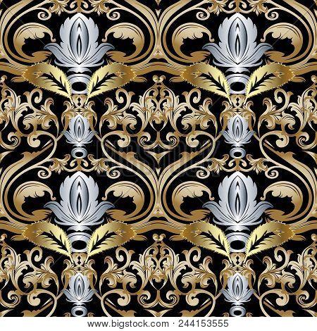 Ornate Gold Silver Baroque Seamless Pattern. Damask Ornamental Vector Background. Vintage Floral Orn