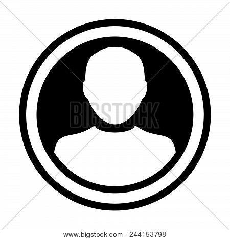 Man Icon Vector User Person Profile Avatar Symbol In Circle Flat Color Glyph Pictogram Illustration