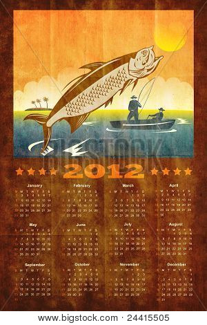poster calendar 2012 showing tarpon fish jumping with fisherman fishing on boat done in retro style poster