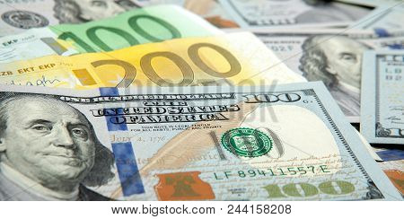 Close Up Notes Real Dollar Euro. Dollar And Euro Notes. Symbol Differences Euro Dollar.