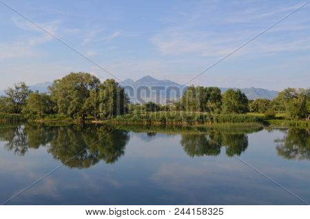 Quiet Water Of A Lake Allows Beautiful Mirror Reflections On Sunny Day. Amazing Wilderness Nature La