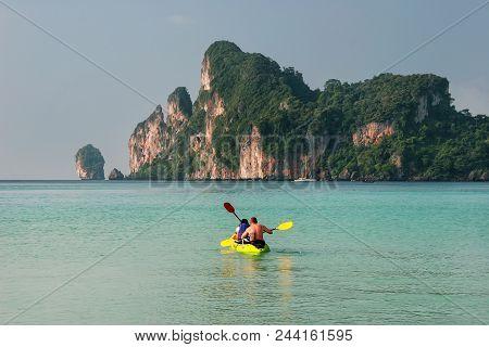 Krabi, Thailand - November 30: Unidentified People Kayak At Ao Loh Dalum On Phi Phi Don Island On No