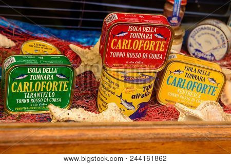 Carloforte, Sardinia, Italy - May 08, 2014: Typical Canned Tuna Products On The Island Of San Pietro