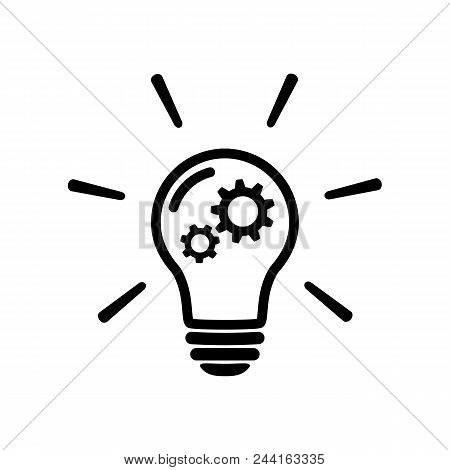 Innovation Concept Icon In Flat Style. Light Bulb With Gear Mechanism Line Sign -bulb With Gear Icon