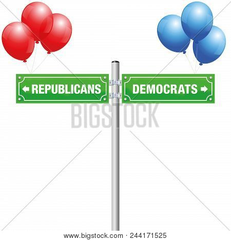 Democrats Or Republicans, Written On Street Signs With Red And Blue Balloons To Choose Ones Favorite