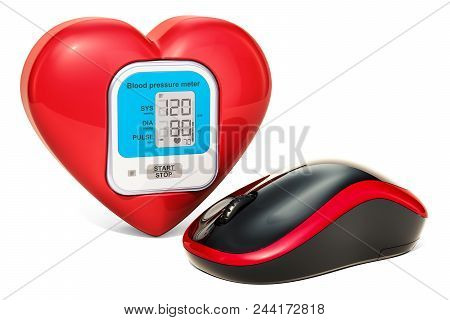 Red Heart With Monitor From Sphygmomanometer And Computer Mouse, Online Monitoring Concept. 3d Rende