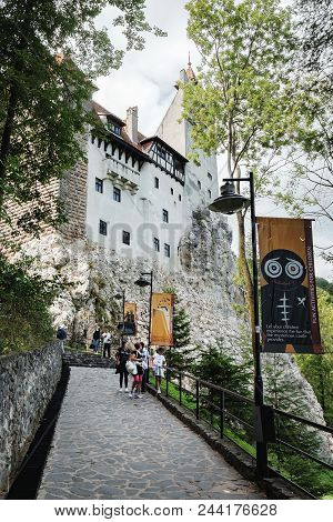Bran, Romania - September 7, 2017: Tourists Visit The Bran Or Dracula Castle In Transylvania, Romani