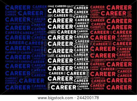 France National Flag Collage Designed Of Career Text Design Elements On A Black Background. Vector C