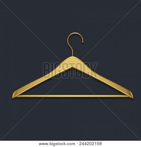 Boutique shop gold clothes hanger isolated on black background. Minimalistic fashion background. 3D rendering.