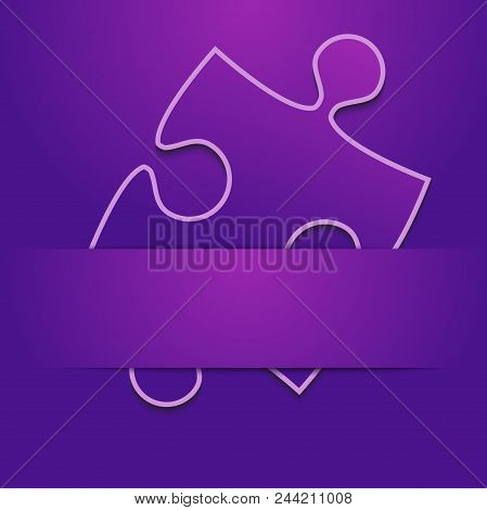 One Purple Background Puzzle Piece Inserted Ribbon. Jigsaw Banner. Happy New Year Merry Christmas. A